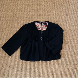 a.n.a | Black Wool Lined Button Cropped Blazer